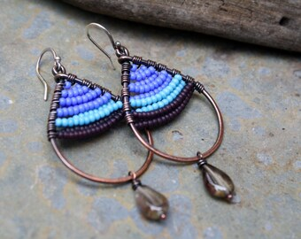 Woven Copper Earrings, Purple Blue Earrings, Seed Bead Earrings, Teardrop Earrings, Oxidized Copper Earrings, Boho,  Hammered Wire Earrings