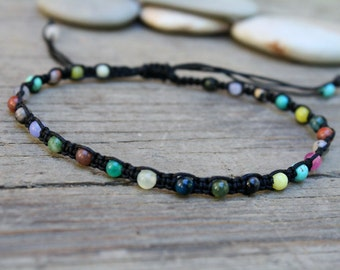 Macrame Anklet, Waterproof Anklet, Mixed Stone Anklet, Adjustable Anklet, Colorful Anklet, Beaded Macrame, Teen Jewelry, Summer Jewelry
