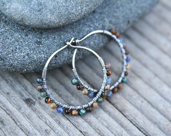 Sterling Silver Hoops, 3/4 inch hoops, Blue Brown, Oxidized Silver,Small Hoops, Wire Wrapped Hoop, Stone Hoops, Earth Tones, Boho Jewelry