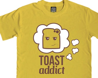ac5d5909 Toast Addict T-Shirt - Mens & Ladies - Colourful Yellow Toast T-Shirt -  Graphic Tees - Funny T-Shirts - Breakfast Gift - Colourful