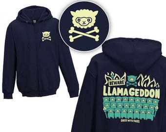 e2befa62dc2 Llamageddon Zip-Up Hoodie - Llama Hoodie - Funny Hoodies - Alpacas - Mens    Ladies   Unisex Zip-Up Hoody - Sweater - Clothing - Navy Blue