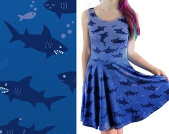 1f1165b4f59d Vestito di attacco di squalo - Taglia 6 - 20 Skater blu vestito - squalo  vestito per le donne - squali - moda carino - oceano   Fish Dress - Kawaii  ...