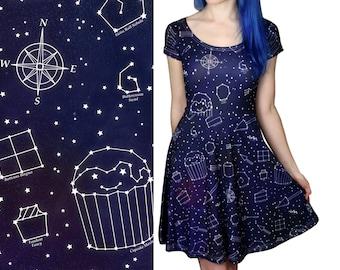 Starry Night Dress - Size 6 - 20 - Galaxy / Space / Stars Skater Dress - Party Dress - Cute Dresses - Alternative Clothing - Celestial