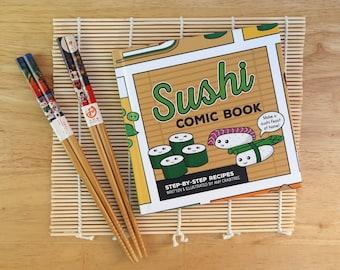 How to Make Sushi Recipe Comic Book Gift Set inc. Japanese chopsticks & sushi rolling mat - Cute Sushi Gift - Japan Gift - Sushi making set
