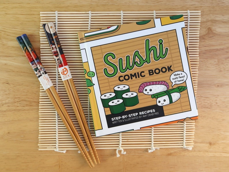 How to Make Sushi Recipe Comic Book Gift Set inc. Japanese image 0