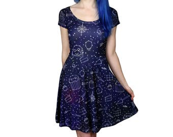 Starry Night Dress - Size 6 - 20 - Galaxy / Space / Stars Skater Dress - Party Dress - Cute Dresses - Alternative Clothing