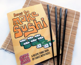 How to Make Sushi Recipe Comic Book Gift Set - With Japanese chopsticks & sushi rolling mat - Cute Sushi Gift - Japan Gift