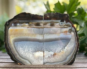 Brown & Tan Natural Agate Quartz Crystal Bookends, Agate Bookends, Geode Bookends, Crystal Bookends, Polished Agate Bookends