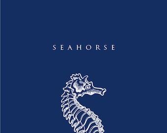 """4 Navy Blue Nautical Art Printables - 4x6"""" - Crab, Seahorse, Anchor and Ship"""