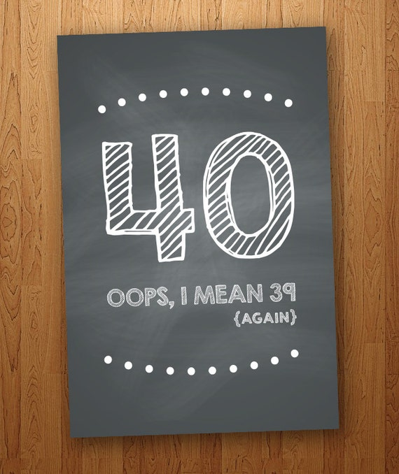 FUNNY 40th Birthday Card DIY Instant Download 4x6