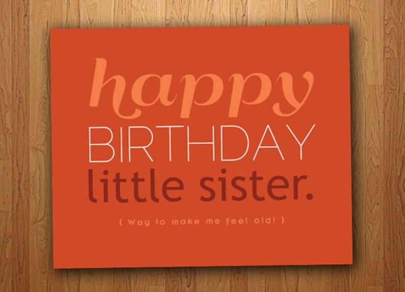 Little Sister Funny Birthday Card Printable