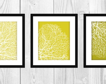 "Modern Mustard & Yellow Coral Printable Artwork (Set of 3 - 8x10"")"