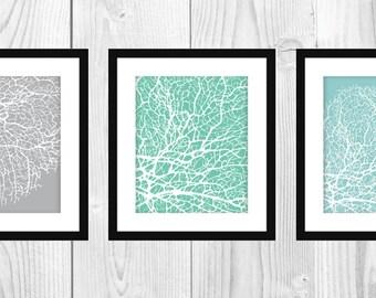 "Modern Coral Art Prints, Set of 3 8x10"" Printable"