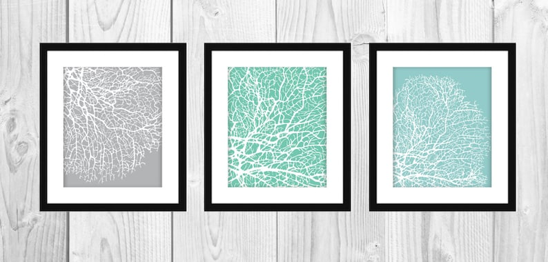 Modern Coral Art Prints Set of 3 8x10 Printable image 0