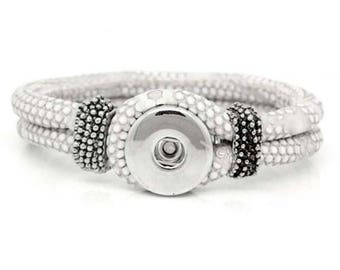 White PU  Leather Snap Bracelet for Interchangeable Snap Jewelry Buttons