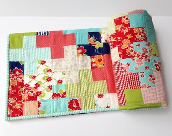 """Baby Toddler Plus Quilt,  52""""x43"""", Miss Kate Fabric"""