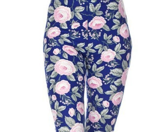 ad6f6c25a9fd28 Blue and Pink Floral Print Leggings for Women • Perfect for Hanging Out With  Your Dog (and Friends!)