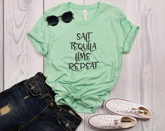 Salt Tequila Lime Repeat T-Shirt for Dog Moms | Perfect for Spring and Summer!