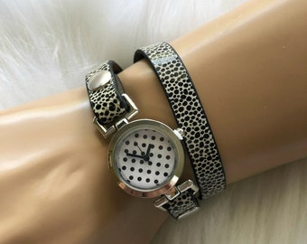 Wrap Around Wrist Watch With Polkadot Face • Makes a Wonderful One of A Kind Gift!