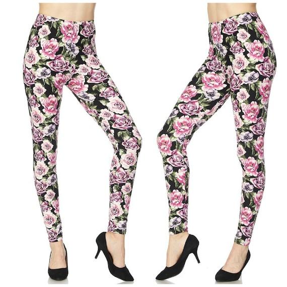 c1cd0e30ec4308 GORGEOUS Pink Rose Print Leggings for Women Perfect for | Etsy