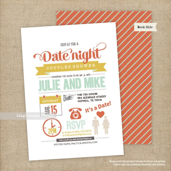 date night themed couples shower invitation bridal shower etsy