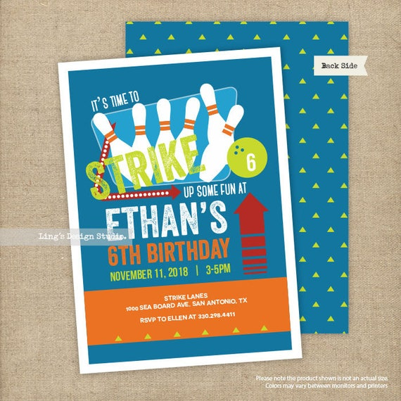 bowling birthday invitation printable etsy