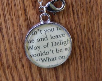 The White Way of Delight - Anne of Green Gables Book Page resin pendant necklace - Literary Jewelry - LM Montgomery