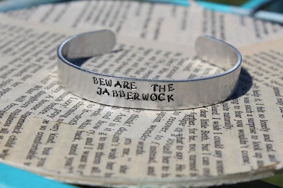 Beware The Jabberwock Lewis Carroll Jabberwocky Metal Stamped 38 Inch Cuff Bracelet Literary Jewelry