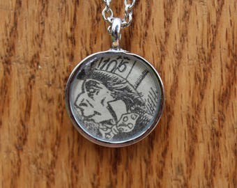 Mad Hatter (Illustrated) - Alice in Wonderland - Lewis Carroll resin protected Book Page Literary Necklace