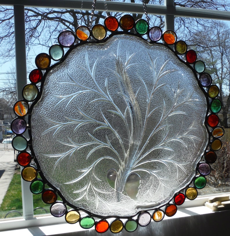 Family Tree Sun Catcher Vintage Plate with Glass Gems in Fall Colors