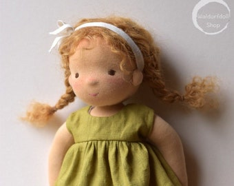 "14"" Waldorf Doll / Natural Fibre Art Doll with Mohair Weft"