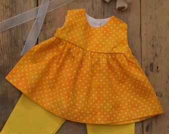 "Waldorf Doll's Dress, 14"" and 16"" Yellow, Polka dot"