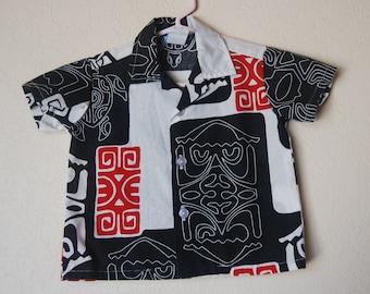 Vintage Hawaiian Tiki toddler shirt size Made in USA
