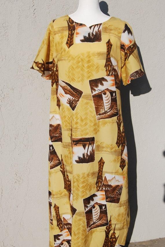 Vintage Hawaiian Tiki Dress L- XL