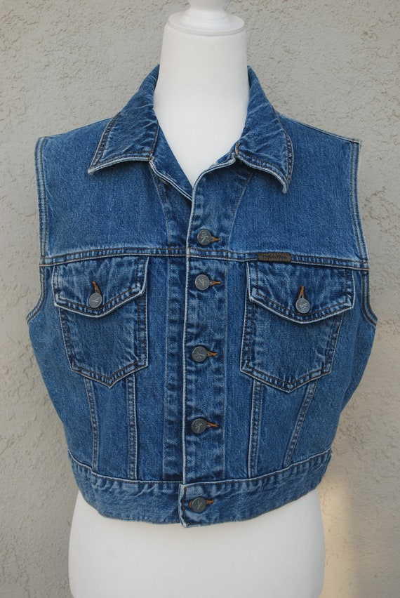 1990/'s Near Mint Condition Levi/'s Flannel Lined 100/% Cotton Denim Truckers Vest ~ Size XS ~ Very Scarce With This Lining ~ Made In USA ~