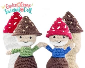 Amigurumi Crochet Garden Gnome Mushroom Toadstool Topsy-Turvy Doll Pattern