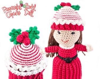 Amigurumi Crochet Peppermint Swirl Christmas Cupcake Topsy-Turvy Doll Toy Pattern