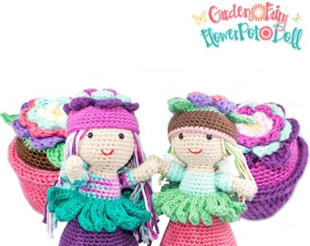 Amigurumi Crochet Garden Fairy Flower Pot Topsy-Turvy Doll Toy Pattern