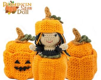 Amigurumi Crochet Pumpkin Spice Topsy-Turvy Doll Toy Pattern