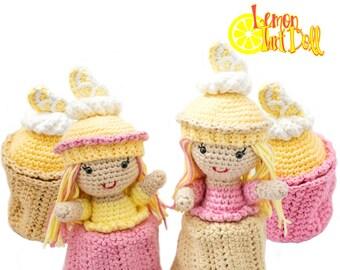 Amigurumi Crochet Lemon Tart Cupcake Topsy-Turvy Doll Toy Pattern