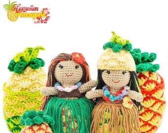 Amigurumi Crochet Hawaiian Pineapple Topsy-Turvy Doll Toy Pattern