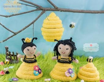 Amigurumi Crochet Queen Bee Hive Topsy-Turvy Doll Toy Pattern