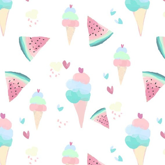 Pastel Ice Cream And Watermelon Dollhouse Wallpaper