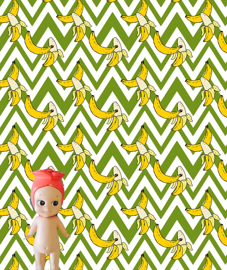 graphic about Dollhouse Wallpaper Printable named Zig Zag Bananas Dollhouse Wallpaper Printable Obtain