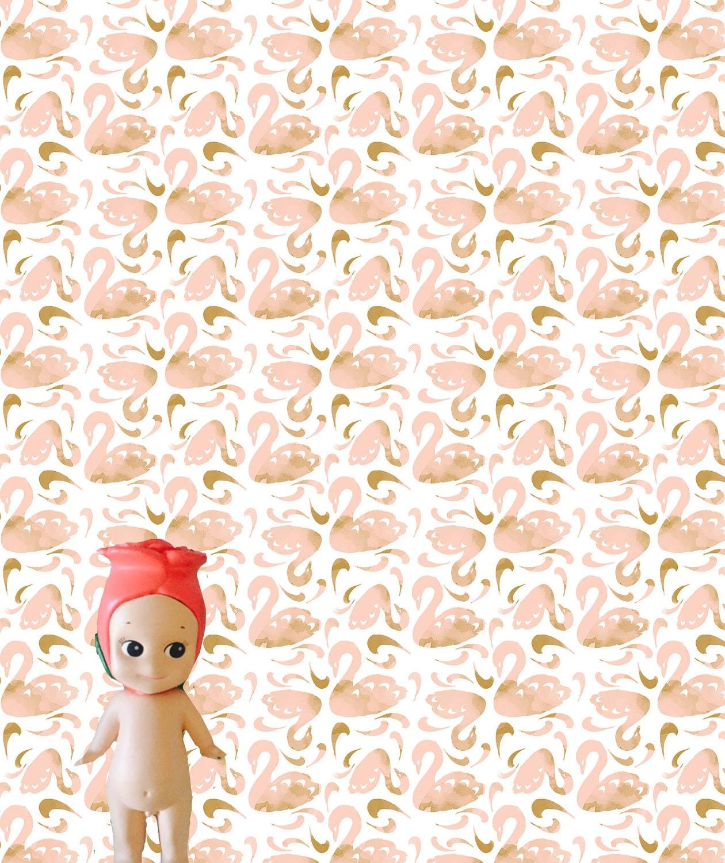 Blush Block Cut Swans Dollhouse Wallpaper Download