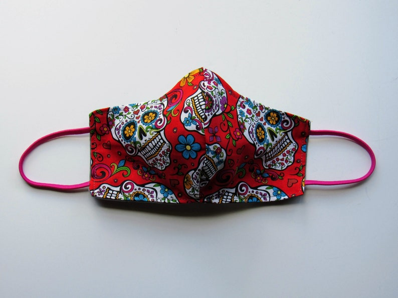 Women's Red Sugar Skull Cloth Face Mask image 0