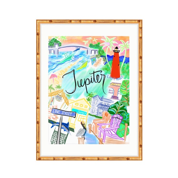 Map Jupiter Florida.Jupiter Florida Fine Art Print Map Of Jupiter Etsy