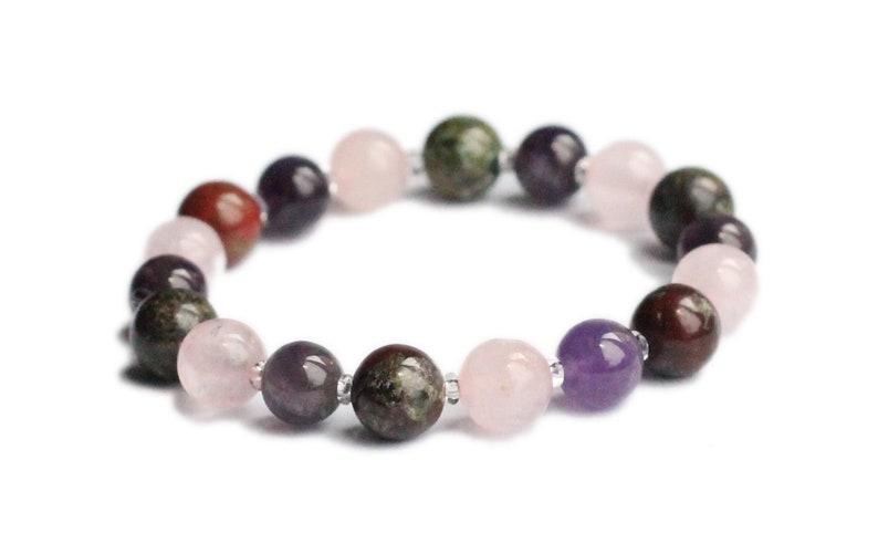 AGGRESSION & ANGER CONTROL | Amethyst, Bloodstone, Rose Quartz | Gemstone  Bracelet, Empath, Protection, Energy Shield, Natural Healing