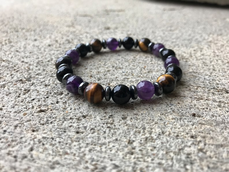 PATIENCE & ANGER CONTROL | Tiger's Eye, Amethyst, Tourmaline | Gemstone  Bracelet, Empath Protection, Crystals, Natural Healing
