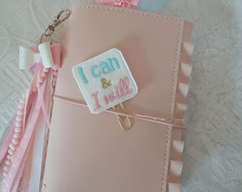 I Can & Will planner felt paper clip Embroidery / filofax / bookmark / travelers notebook / TN